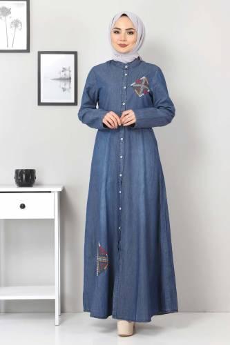 Tesettür Dünyası - Düğmeli Nakışlı Kot Elbise TSD08842 Koyu Mavi