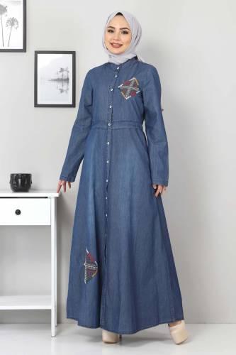 Tesettür Dünyası - Düğmeli Nakışlı Kot Elbise TSD08842 Koyu Mavi (1)