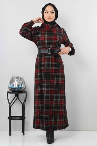 Tesettür Dünyası - Ekose Desenli Elbise TSD0045 Siyah