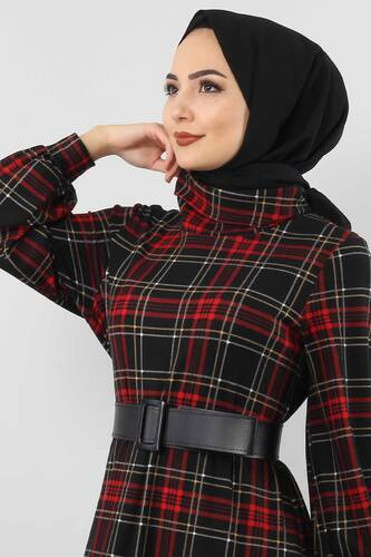 Tesettür Dünyası - Ekose Desenli Elbise TSD0045 Siyah (1)
