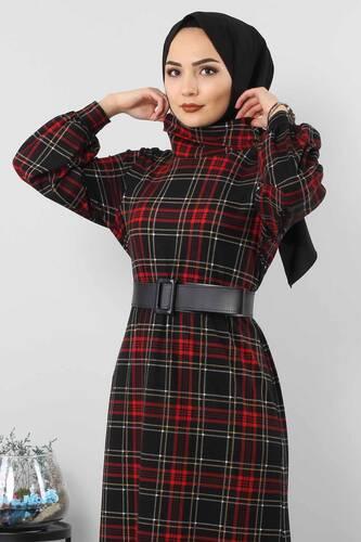 Ekose Desenli Elbise TSD0045 Siyah - Thumbnail