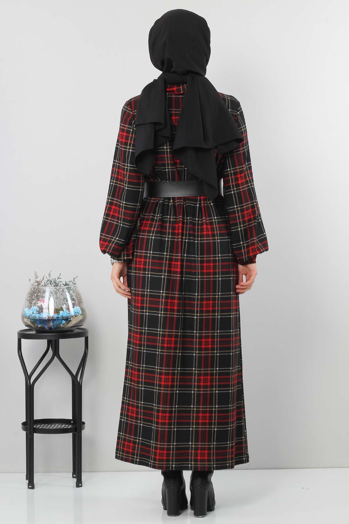 Ekose Desenli Elbise TSD0045 Siyah