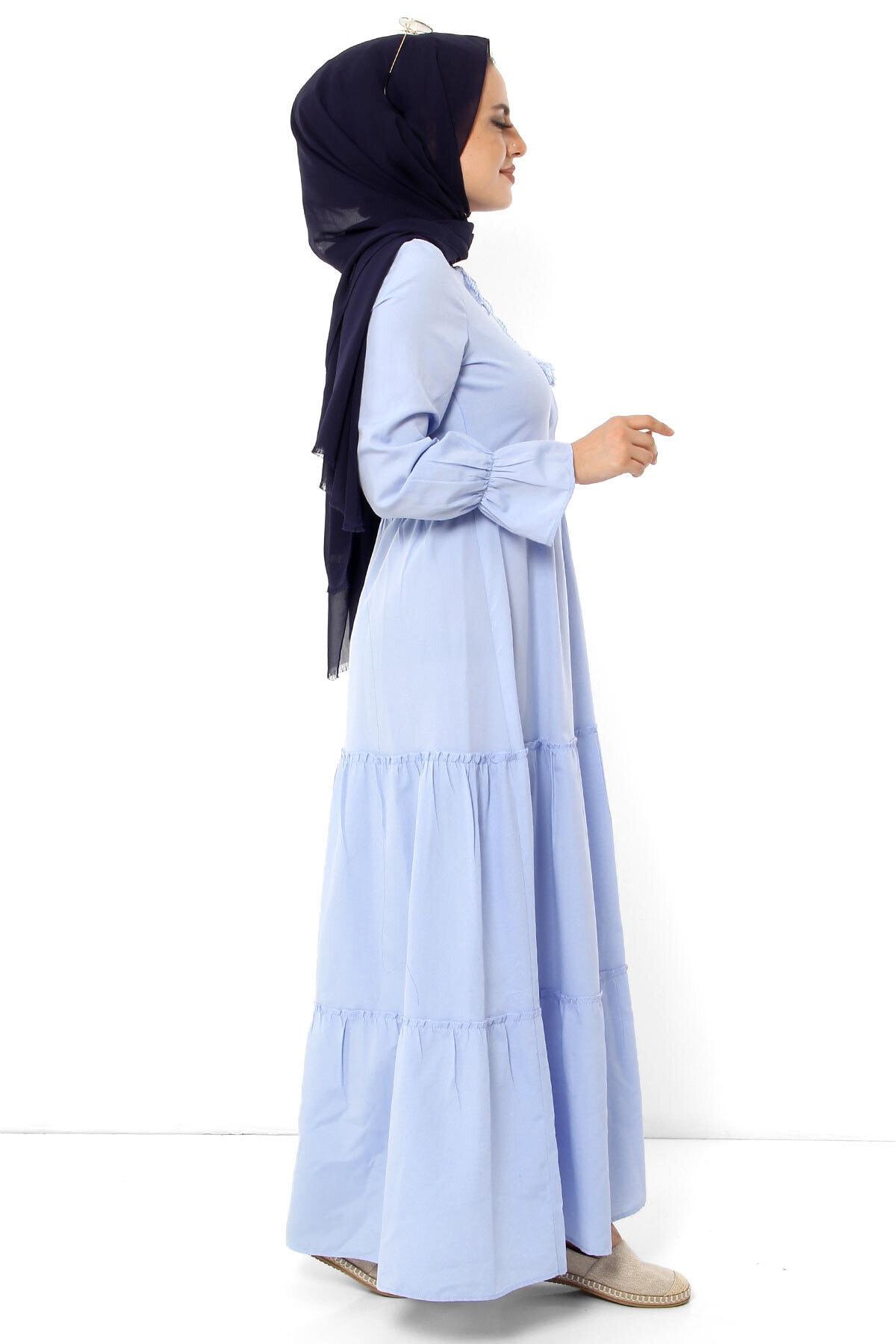 Elastic Sleeve Hijab Dress TSD0173 Baby Blue