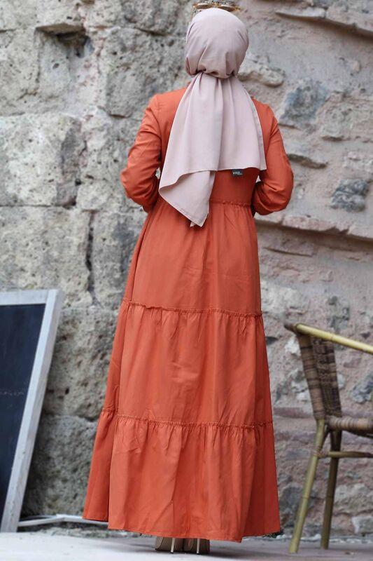 Elastic Sleeve Hijab Dress TSD0173 Orange