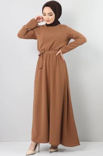 Elastic Waist Ayrobin Dress TSD5521 Brown - Thumbnail