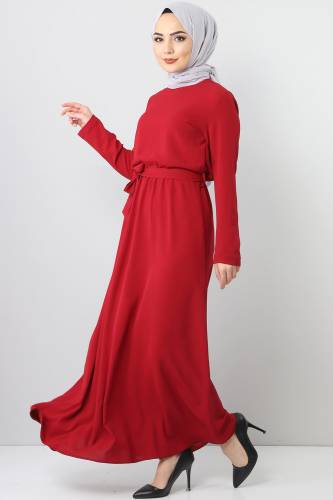 Elastic Waist Ayrobin Dress TSD5521 Claret Red - Thumbnail