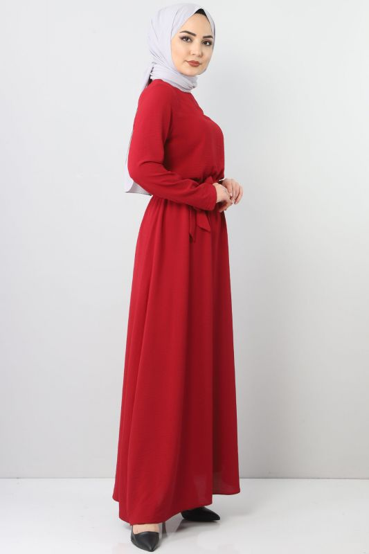 Elastic Waist Ayrobin Dress TSD5521 Claret Red
