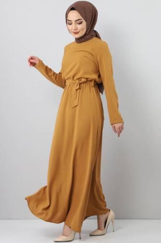 Elastic Waist Ayrobin Dress TSD5521 Mustard - Thumbnail