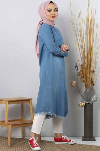 Embellished Jeans Tunic TSD1310 Light Blue - Thumbnail
