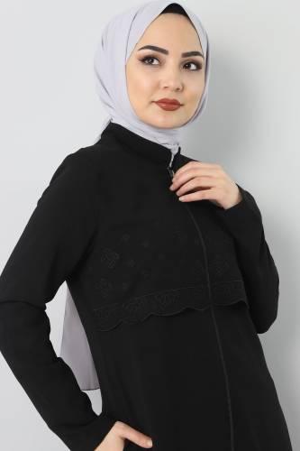 Embroidered Abaya TSD2510 Black - Thumbnail