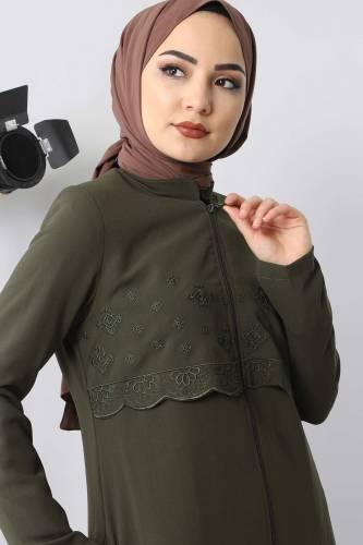Embroidered Abaya TSD2510 Khaki - Thumbnail