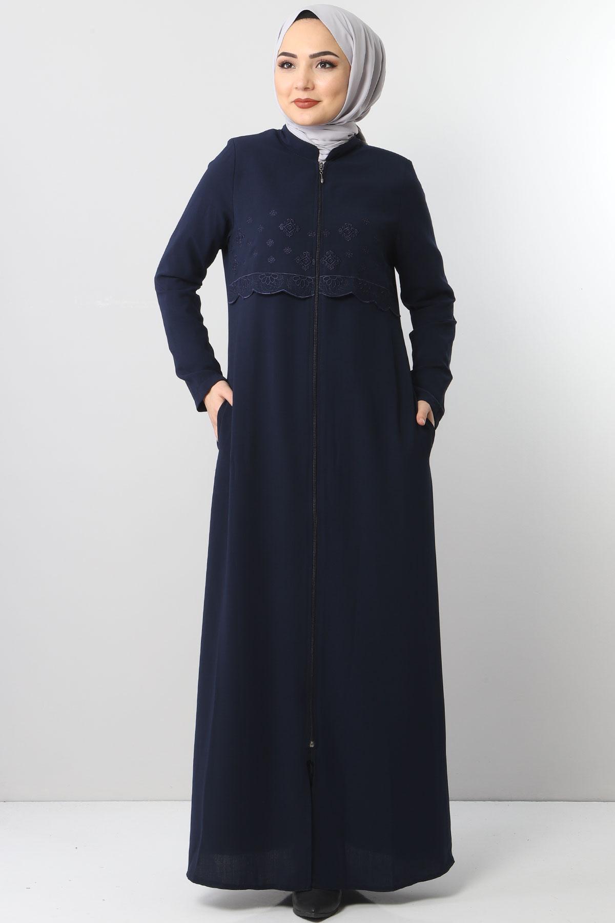 Embroidered Abaya TSD2510 Navy Blue