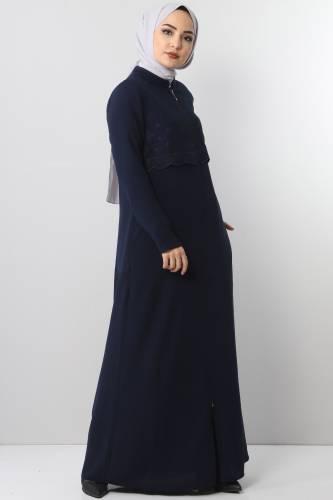 Embroidered Abaya TSD2510 Navy Blue - Thumbnail