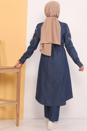 Embroidered Double Jeans Suit TSD0456 Dark Blue - Thumbnail