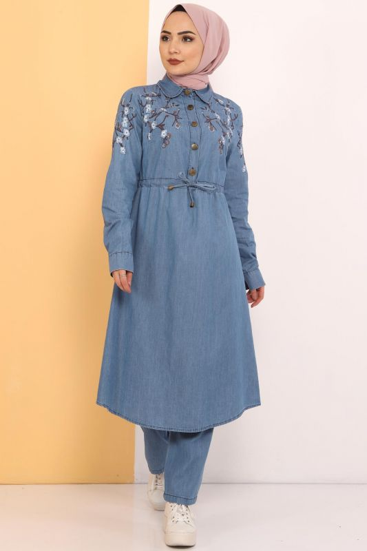 Embroidered Double Jeans Suit TSD0456 Light Blue