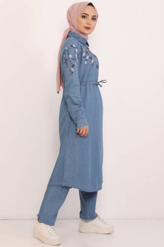 Embroidered Double Jeans Suit TSD0456 Light Blue - Thumbnail