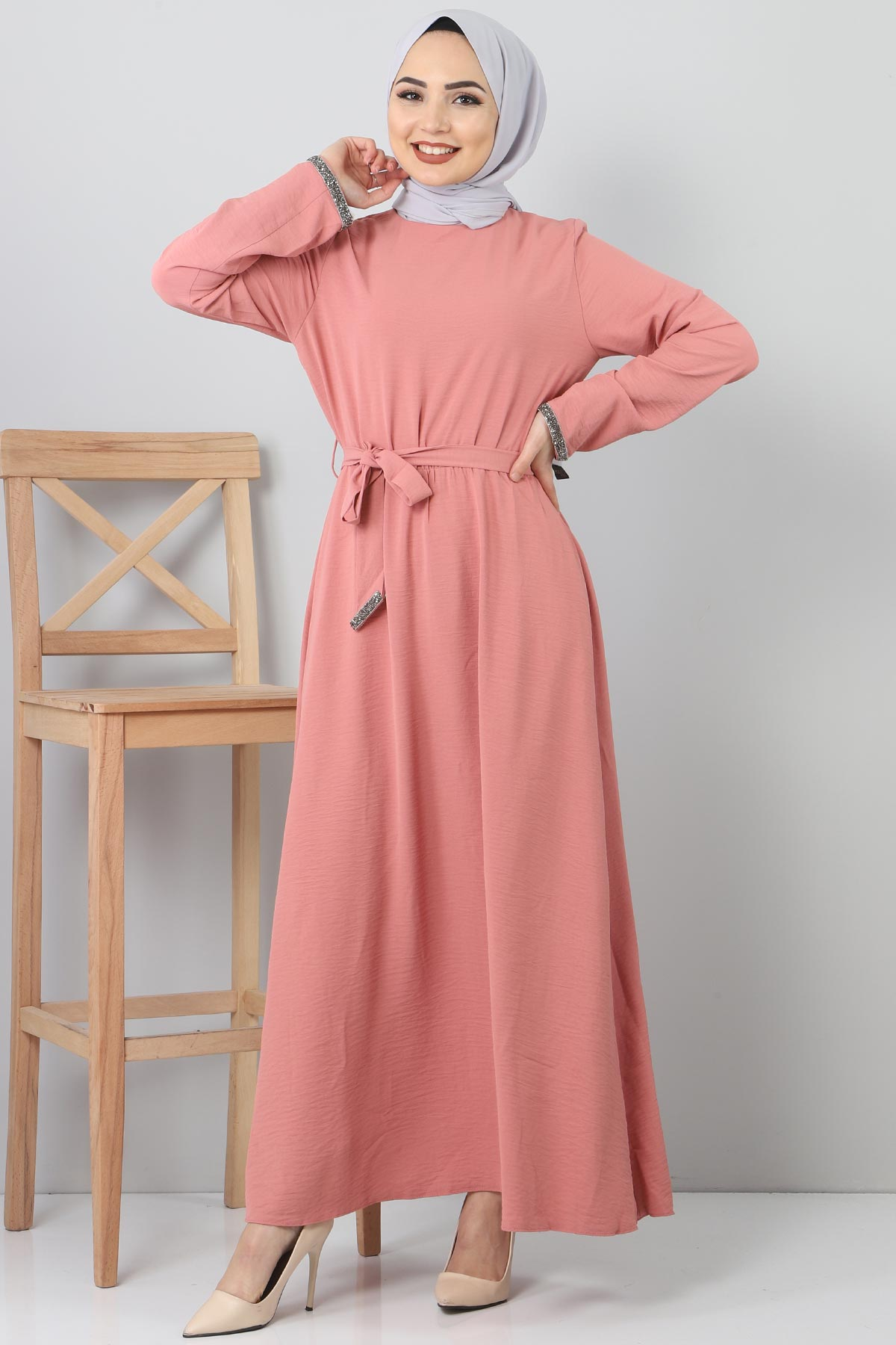 Embroidered Dress TSD6555 Pink