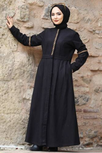 Tesettür Dünyası - Embroidered Full Length Cachet Coat TSD0263 Black