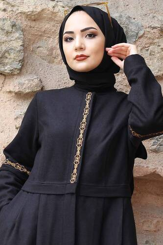 Tesettür Dünyası - Embroidered Full Length Cachet Coat TSD0263 Black (1)