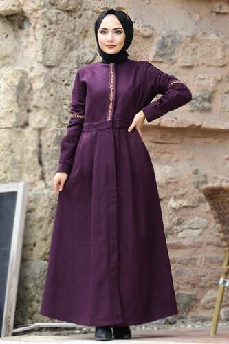 Tesettür Dünyası - Embroidered Full Length Cachet Coat TSD0263 Plum