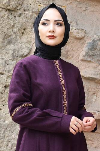 Tesettür Dünyası - Embroidered Full Length Cachet Coat TSD0263 Plum (1)