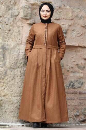 Tesettür Dünyası - Embroidered Full Length Cachet Coat TSD0263 Taba