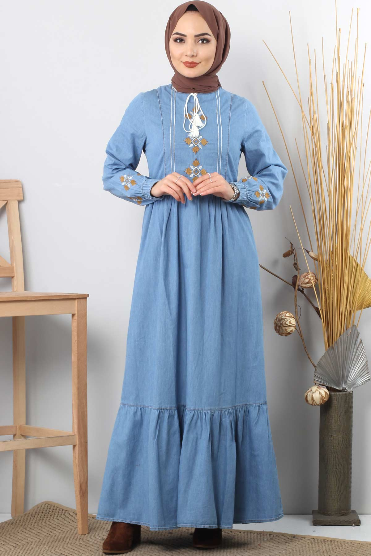 Embroidered Jeans Dress TSD6156 Light Blue.