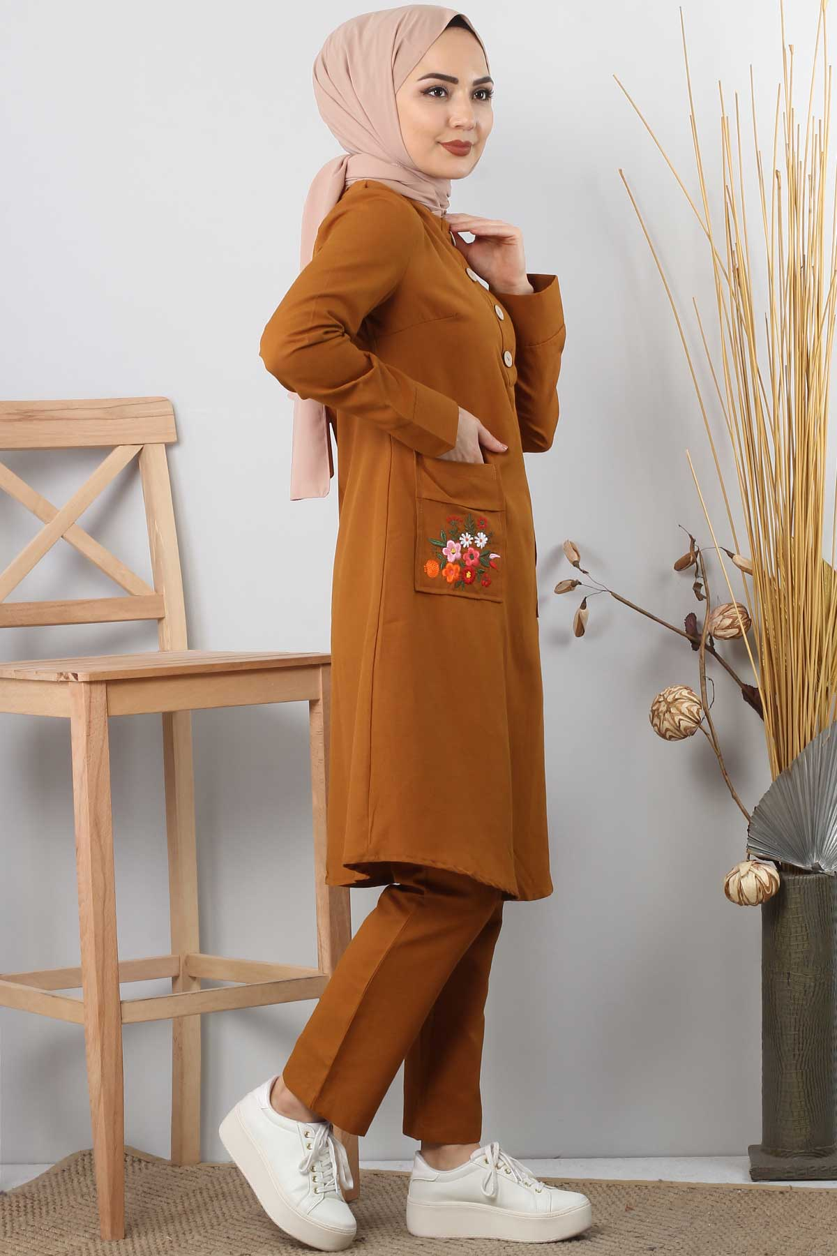 Embroidered Pocket Double Set TSD0110 nude