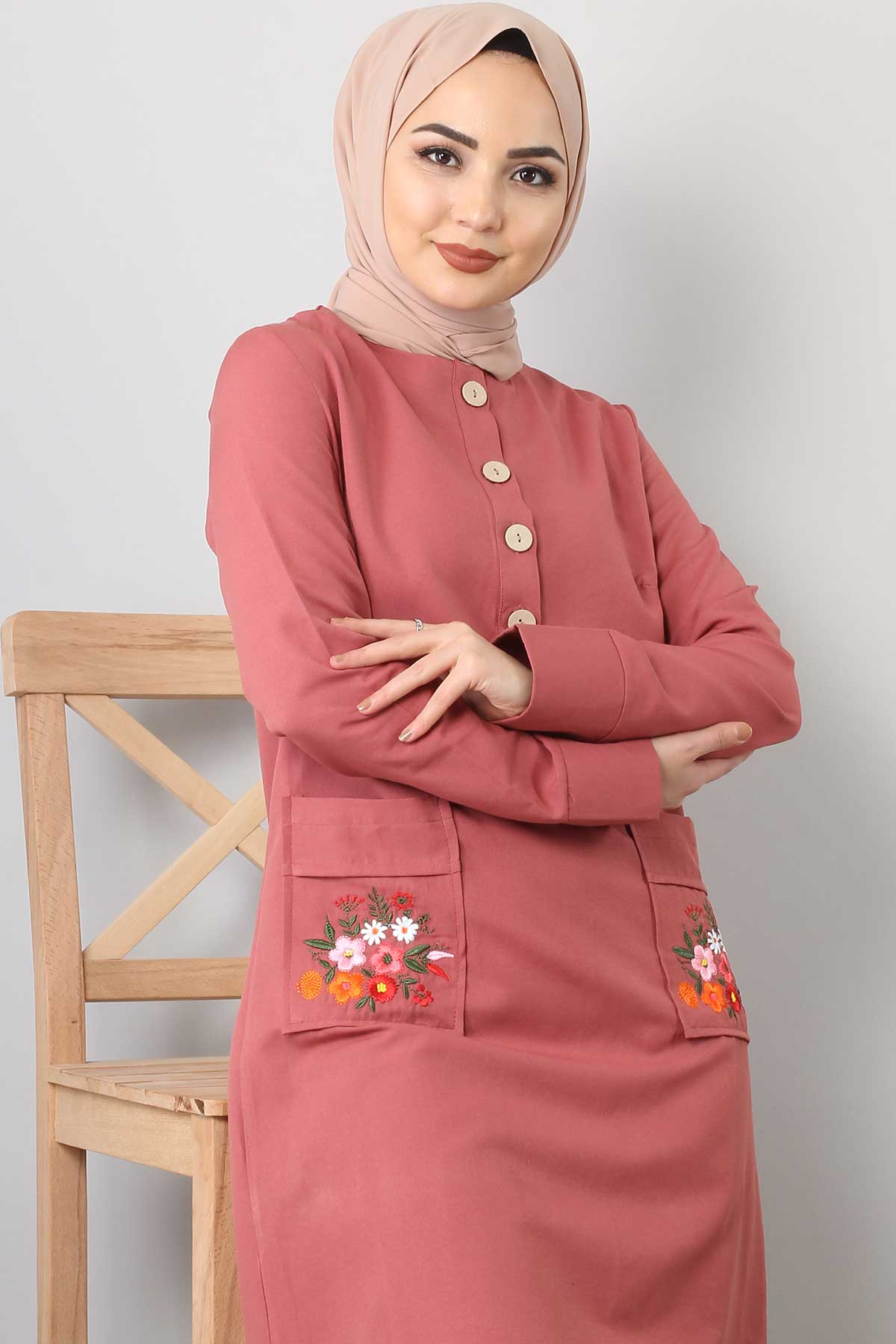 Embroidered Pocket Double Set TSD0110 Pink