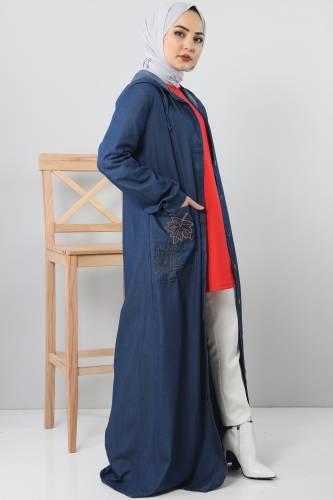 Embroidered Pocket Jeans Cap TSD 1131 Dark Blue - Thumbnail