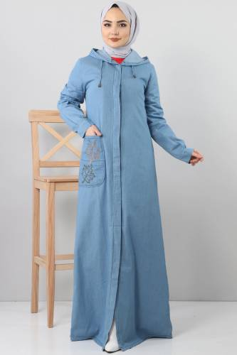 Embroidered Pocket Jeans Cap TSD1131 Light Blue - Thumbnail