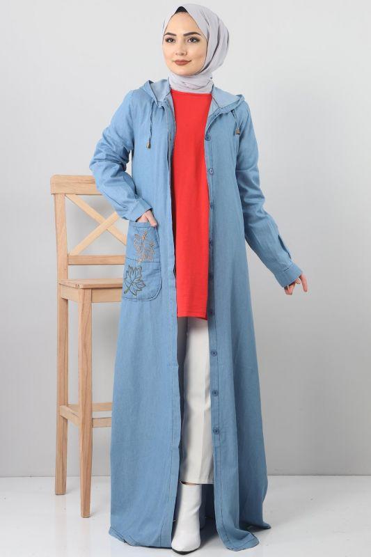 Embroidered Pocket Jeans Cap TSD1131 Light Blue
