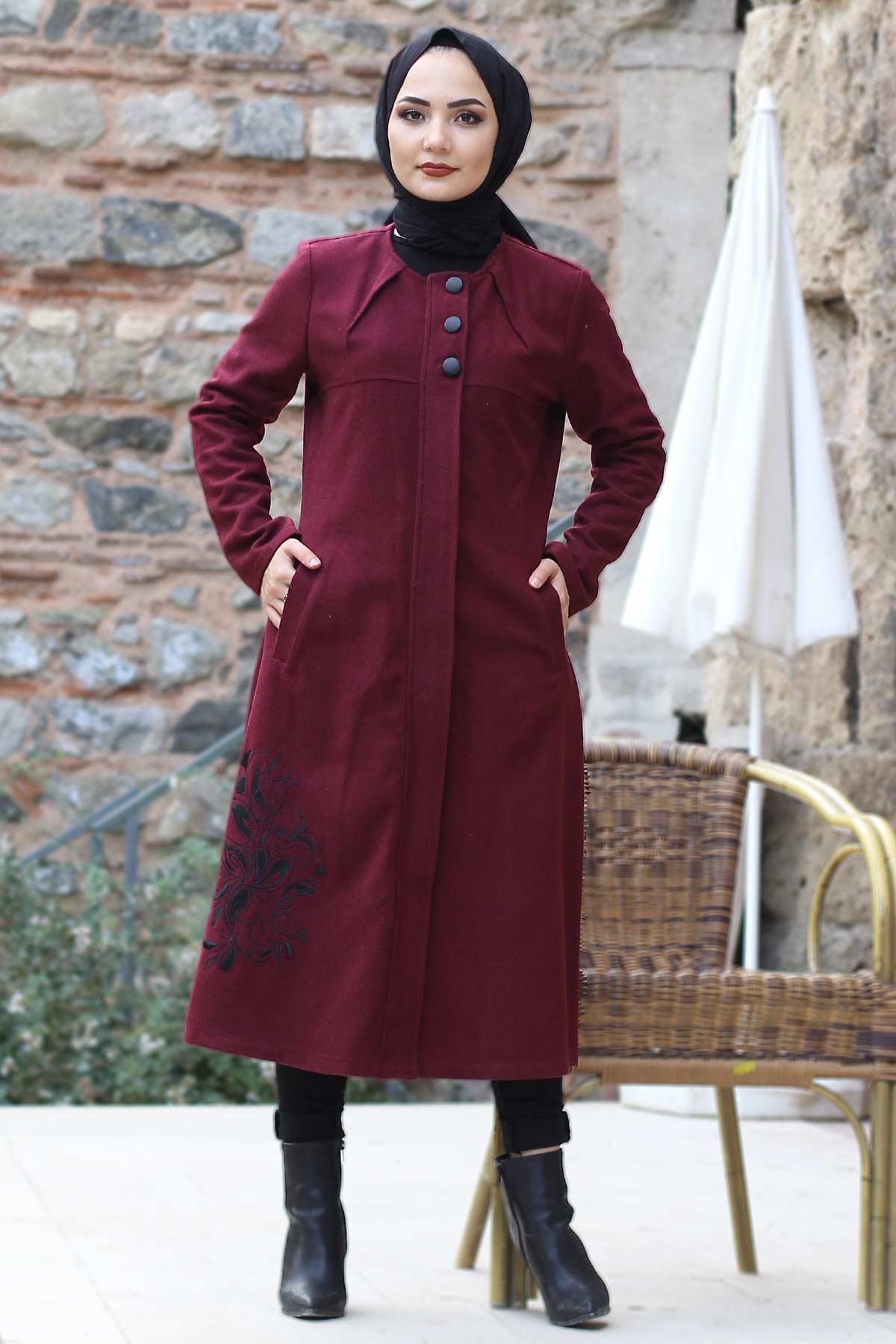 Embroidered Skirt Coat TSD0217 Claret Red