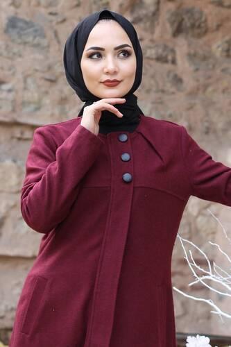 Embroidered Skirt Coat TSD0217 Claret Red - Thumbnail