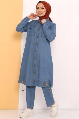 Tesettür Dünyası - Eteği Büzgü Detaylı İkili Kot Takım TSD0450 Açık Mavi