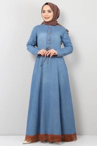 Tesettür Dünyası - Eteği Dantelli Kot Elbise TSD8828 Açık Mavi