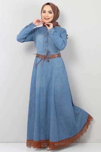 Tesettür Dünyası - Eteği Dantelli Kot Elbise TSD8828 Açık Mavi (1)