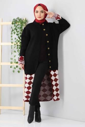 Tesettür Dünyası - Eteği Desenli Triko Hırka TSD2491 Siyah