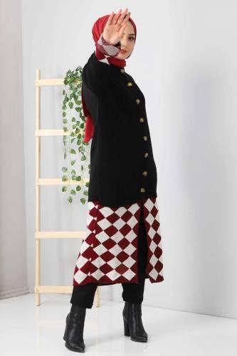 Tesettür Dünyası - Eteği Desenli Triko Hırka TSD2491 Siyah (1)