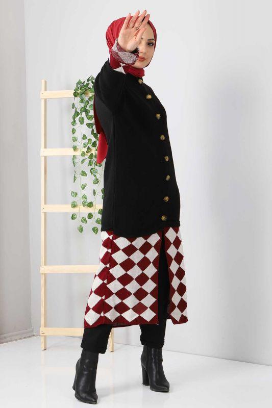 Eteği Desenli Triko Hırka TSD2491 Siyah