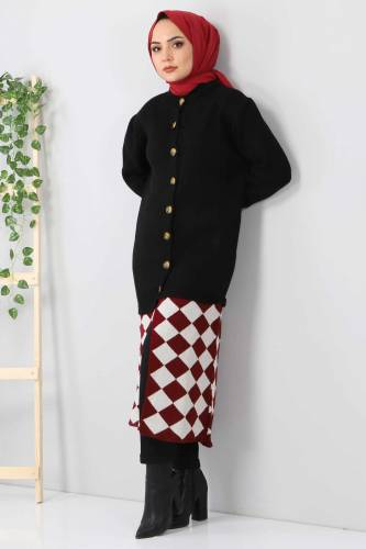 Eteği Desenli Triko Hırka TSD2491 Siyah - Thumbnail
