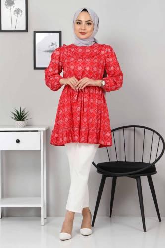 Eteği Pileli Tunik TSD3302 Kırmızı - Thumbnail