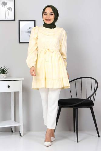 Eteği Pileli Tunik TSD3302 Sarı - Thumbnail