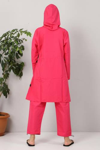 Eteği Şeritli Tesettür Mayo TSD8801 Fuşya - Siyah - Thumbnail