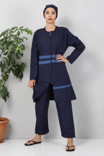 Tesettür Dünyası - Eteği Şeritli Tesettür Mayo TSD8801 Lacivert - Mavi