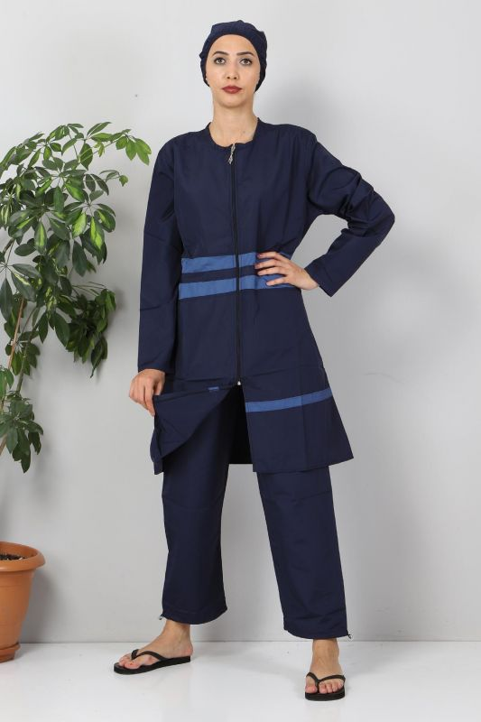Eteği Şeritli Tesettür Mayo TSD8801 Lacivert - Mavi