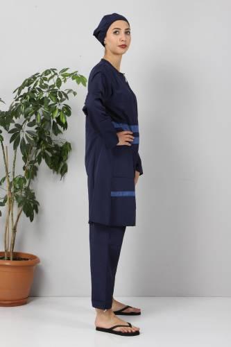 Tesettür Dünyası - Eteği Şeritli Tesettür Mayo TSD8801 Lacivert - Mavi (1)