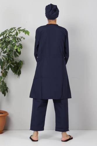 Eteği Şeritli Tesettür Mayo TSD8801 Lacivert - Mavi - Thumbnail
