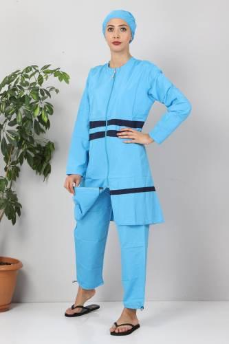 Tesettür Dünyası - Eteği Şeritli Tesettür Mayo TSD8801 Mavi - Lacivert