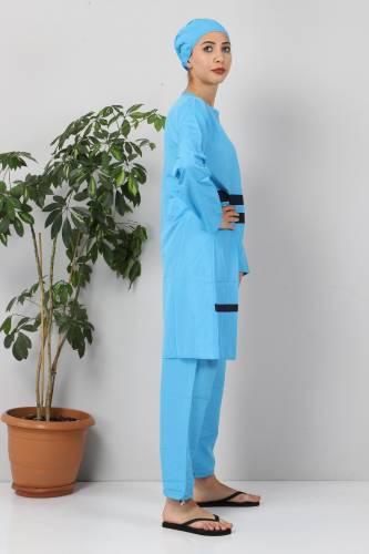 Tesettür Dünyası - Eteği Şeritli Tesettür Mayo TSD8801 Mavi - Lacivert (1)
